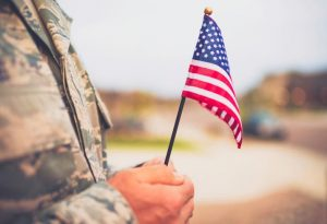 Soldier Holding Flag