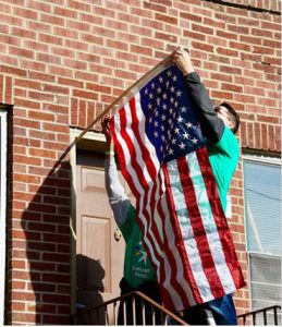 Veteran hanging flag